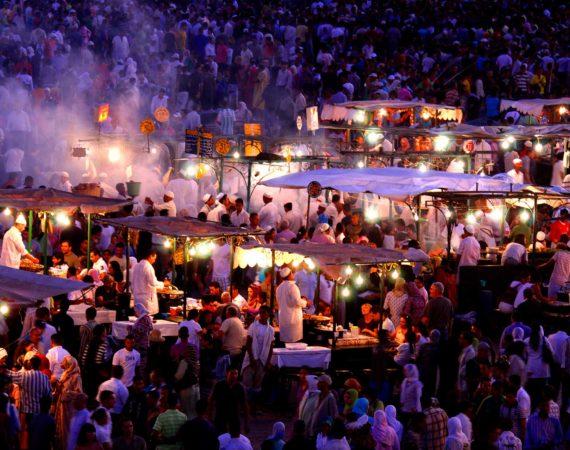 Food stalls at night in Jemma el Fna Square