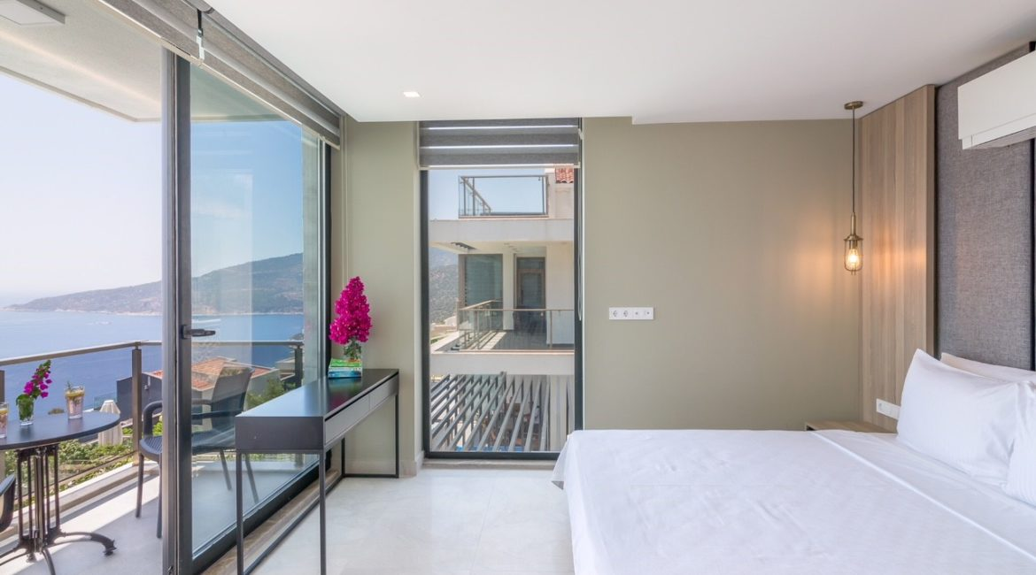 Villa Elegance double bedroom with sea views
