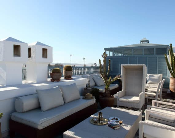 The roof terrace at L'Heure Bleue