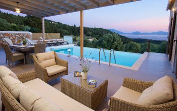 Villa Euphoria outside seating, pool and stunning views
