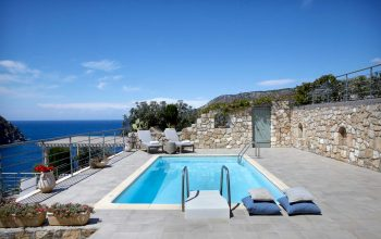 Villa Elea Braunis Horio sun terrace and pool