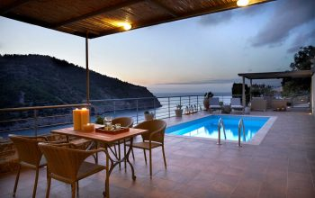 Villa Thea Braunis Horio outside dining, pool and stunning sea views